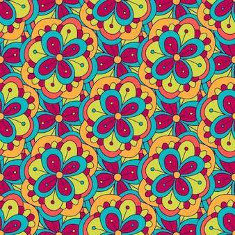 Цветочный узор doodle. векторный бесшовный фон. иллюстрация для текстильной ткани