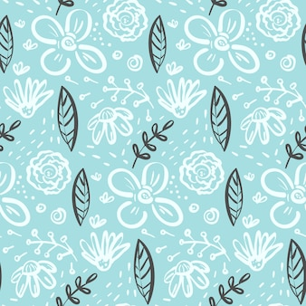 Doodle floral seamless pattern with flowers and leaves