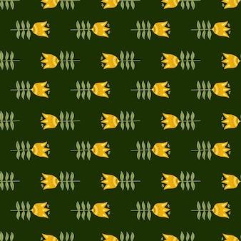 Каракули цветок народного искусства бесшовные модели на зеленом фоне. цветочные обои природы. фольклорный стиль.