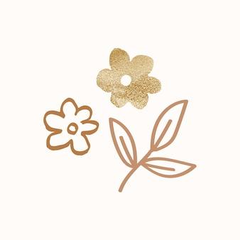 花を金で落書き