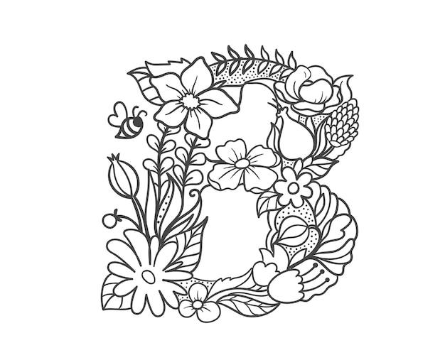 Doodle flower letter b