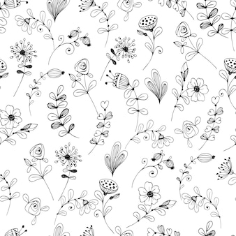 Doodle flower pattern black and white.