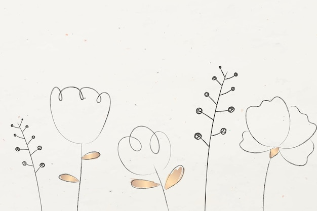 Doodle flower and plant with beige background