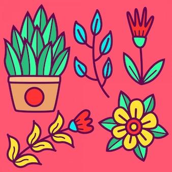落書き花テンプレート