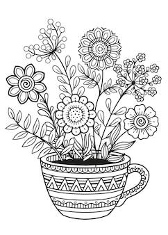 Цветы каракули в чашке. подробная черно-белая раскраска каракули для взрослых