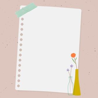 꽃병에 낙서 꽃 분홍색 배경에 종이 메모