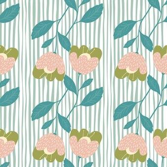 스트라이프 배경에 낙서 꽃 완벽 한 패턴입니다.