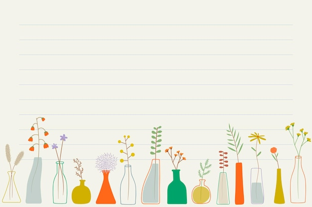Doodle fiori in vasi di carta per appunti Vettore gratuito