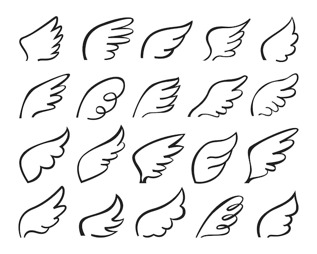 낙서 비행 천사 날개 로고 양식된 스케치 깃털 문신 개요 드로잉 세트