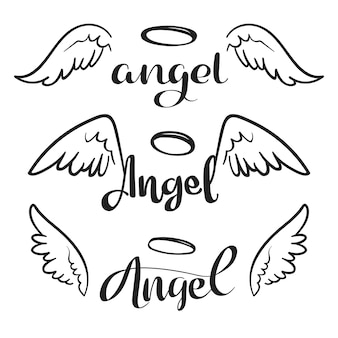 Doodle flying angel wings with halo. sketch angelic wings. freedom and religious tattoo vector design isolated