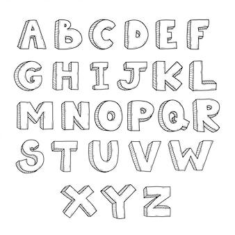 Каракули шрифт az рука рисовать набор