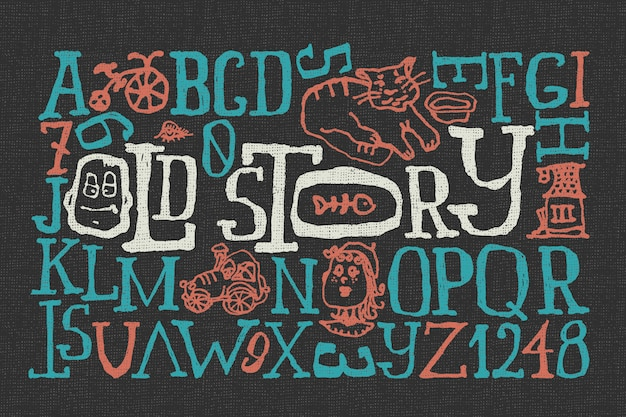 Doodle font set with funny illustrations