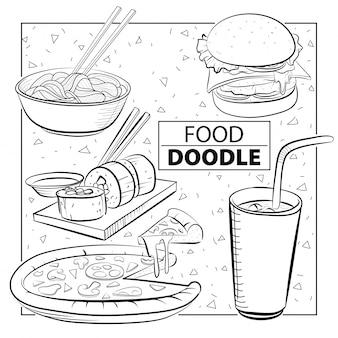 落書き食品セット。黒と白。フリーハンド