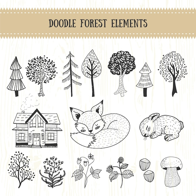Doodle forest hand drawn element collection