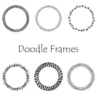 Doodle frame. black vintage ornament set. hand drawn element.