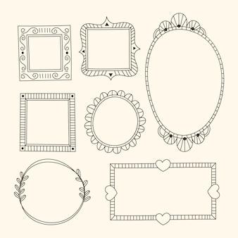 Коллекция декоративных украшений каракули рисованной стиль