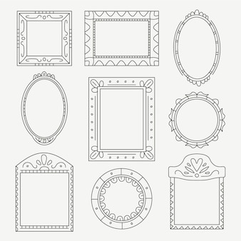 Doodle frame set stile disegnato a mano