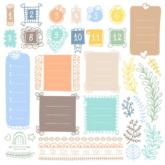 Doodle frames and elements for bullet journal notebook diary or planner