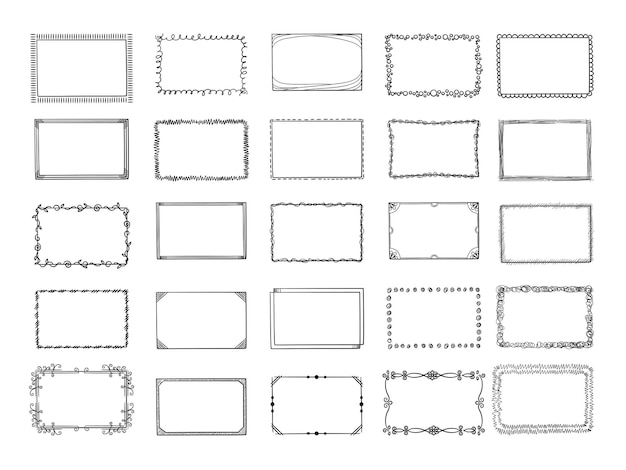 Doodle frames. sketched hand drawn square shapes in different styles borders