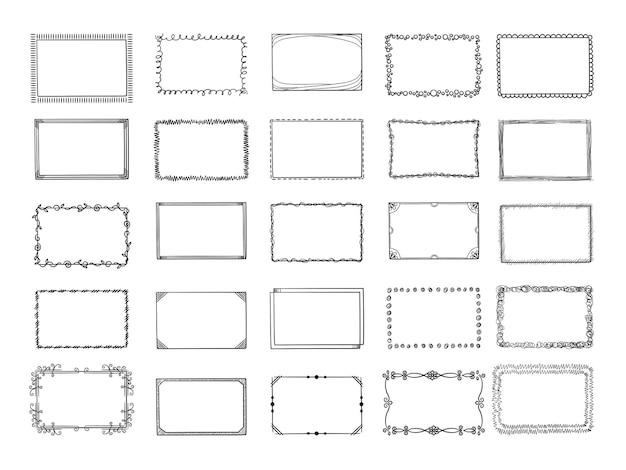 落書きフレーム。さまざまなスタイルの境界線でスケッチされた手描きの正方形の形