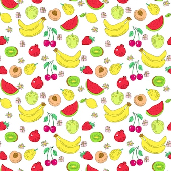 Doodle fruit seamless pattern. summer cartoon outline texture with colored fruts. watermelon, kiwi and cherry, banana