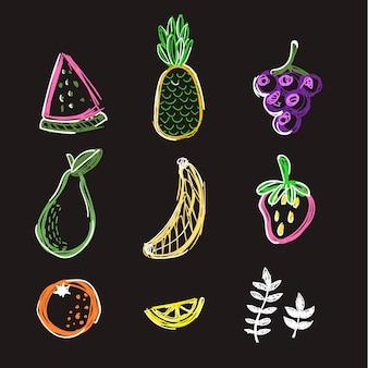 Doodle fruit vector