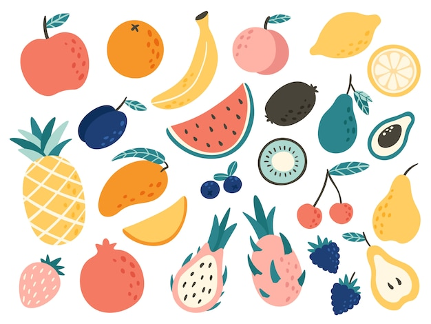 Doodle fruits. natural tropical fruit, doodles citrus orange and vitamin lemon. vegan kitchen apple hand drawn   illustration