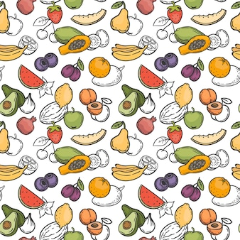 Doodle fruits seamless pattern. hand drawn exotic fruits mango, orange and lemon, watermelon, banana and kiwi wallpaper vector texture. tasty sweet food with vitamins as palm, strawberry, pear
