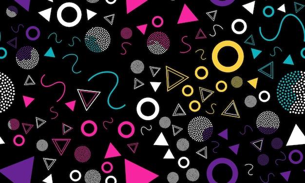 Doodle fun background. memphis seamless pattern.