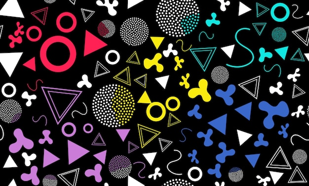 Каракули весело фон. бесшовные модели. летний фон каракули. бесшовные 90-е. мемфисский узор. векторные иллюстрации. хипстерский стиль 80-90-х годов. абстрактный красочный фон в стиле фанк.