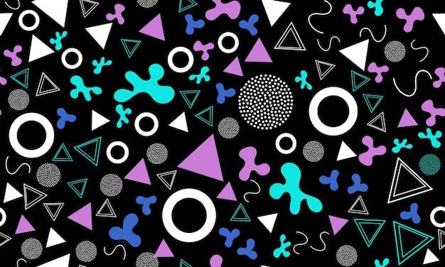 낙서 재미있는 배경. 완벽 한 패턴입니다. 여름 낙서 배경입니다. 원활한 90년대. 멤피스 패턴. 벡터 일러스트 레이 션. 힙스터 스타일 80-90년대. 추상 화려한 펑키 배경입니다.