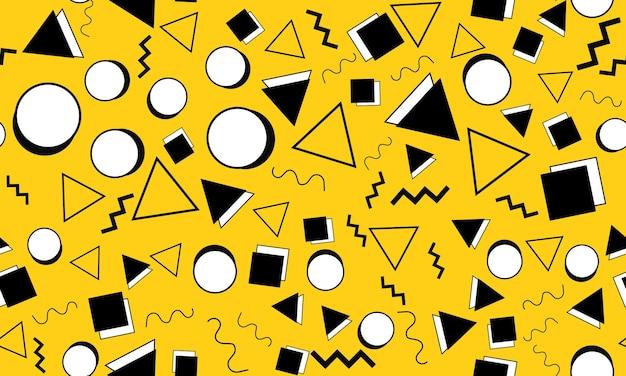 Каракули весело фон. бесшовные модели. желтый фон болвана. бесшовные 90-е. мемфисский узор. векторные иллюстрации. хипстерский стиль 80-90-х годов. абстрактный красочный фон в стиле фанк.