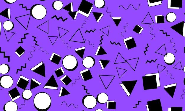 Каракули весело шаблон. бесшовного фона. летний фон каракули. бесшовные 90-е. мемфисский узор. векторные иллюстрации. хипстерский стиль 80-90-х годов. абстрактный красочный фон в стиле фанк.