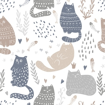 Doodle funny cats seamless pattern design. baby and kids textile and wallpaper background. cute pet wrapping and scrapbooking vector template.