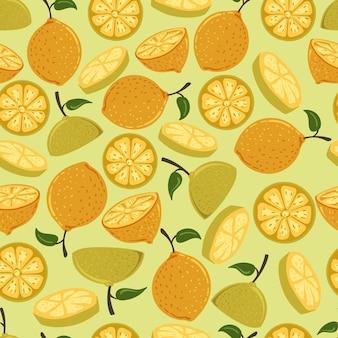 Каракули смешные симпатичные лимон бесшовный фон