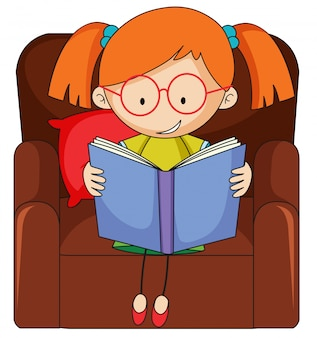 Doodle girl reading book