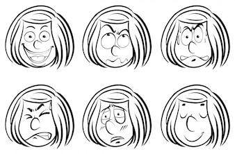 Doodle girl with different facial expressions
