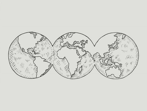 Doodle globe. планета земля.