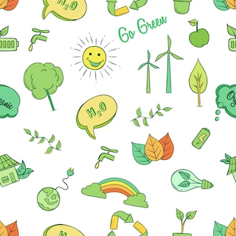 Doodle go green icons idea seamless pattern
