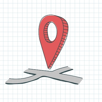 Doodle gps pin location red color on map