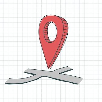 地図上のgpsピンの位置の赤い色を落書き