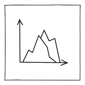 Doodle graph chart icon or logo, hand drawn with thin black line. isolated on white background. vector illustration