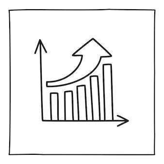 Значок диаграммы диаграммы каракули или логотип, рисованной с тонкой черной линией. изолированные на белом фоне. векторная иллюстрация