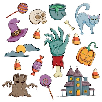 Doodle halloween characters or icons set with color on white background