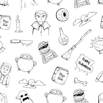 Doodle halloween icons in seamless pattern with halloween character and attribute
