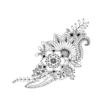 Doodle hand draw black and white flowers for coloring book and decorative