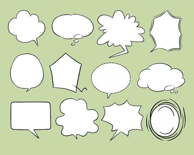 Doodle hand draw blank speech bubbles