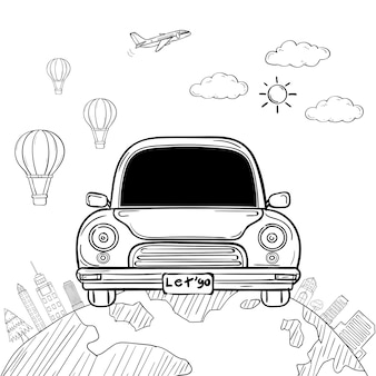 Doodle hand draw car cartoon traveler with smoke and asset travel around the world concept