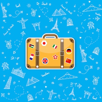 Doodle hand draw luggage with national flag stickers