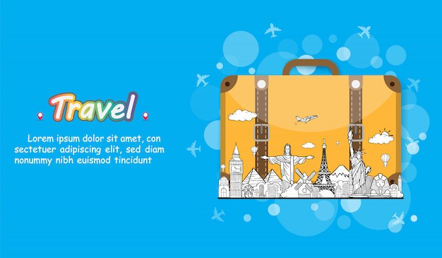 Doodle hand draw traveler with luggage. plane check in point travel accessories around the world concept on background design.